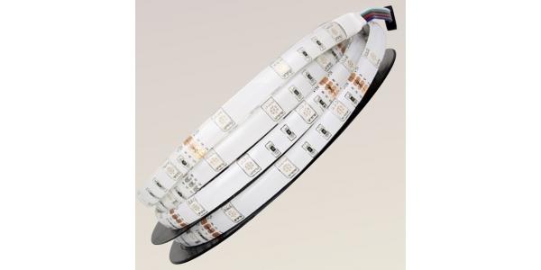 Tira LED RGB 7.2W x metro.12VDC, SMD5050. Rollo 5 metros. 30 LEDs/metro. Uso Interior y Espacios Húmedos - IP65