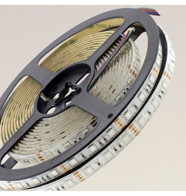 Tira RGB 14.4W x metro. 12VDC. SMD5050. Rollo 5 metros. 60 LEDs/metro. Uso Interior Y Espacios Húmedos - IP55