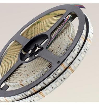 Tira RGB 14.4W/m. 12VDC. SMD5050. Carrete 5 metros. 60 LEDs/m. Interior - Espacios Húmedos - IP55