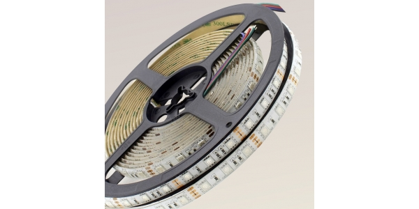 Tira LED RGB 14.4W x metro. 12VDC. SMD5050. Rollo 5 metros. 60 LEDs/metro. Uso Interior Y Espacios Húmedos - IP55