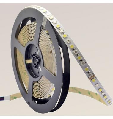 Tira RGB + Luz Cálida 14.4W/m. 12VDC. SMD5050. Carrete 5 metros. 60 LEDs/m. Interior-IP20