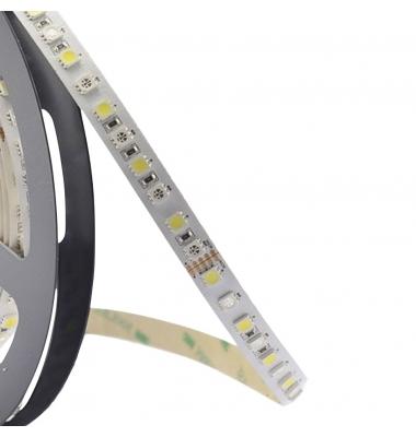 Tira RGB + Luz Cálida 14.4W X metro. 12VDC. SMD5050. Rollo 5 metros. 60 LEDs/metro. Uso Interior - IP20