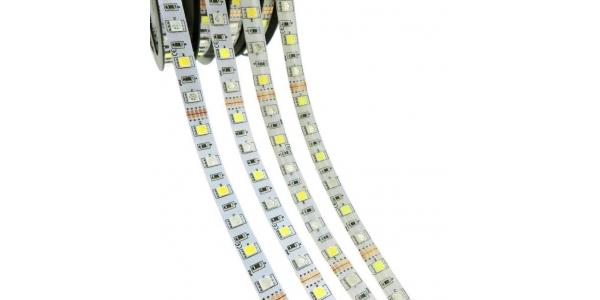 Tira RGB + Luz Cálida 14.4W X metro. 12VDC. SMD5050. 5 metros. 60 LEDs/metro. Uso Interior y Espacios Húmedos - IP55
