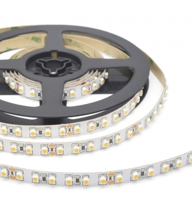 Tira LED 9.6W/m. 24VDC, SMD3528. Carrete 5 metros. 120 LEDs/m. Interior-IP20