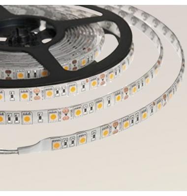 Tira LED 14,4W x metro. 24VDC, SMD5050. Rollo 5 metros. 60 LEDs/metro. Uso Interior y Espacios Húmedos -IP55