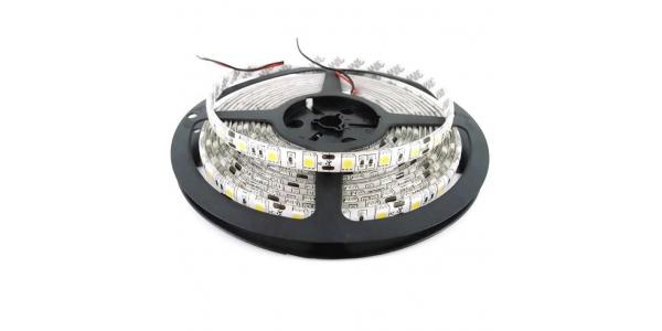 Tira LED 14,4W x metro.24VDC, SMD5050. Rollo 5 metros. 60 LEDs/metro. Uso Interior y Espacios Húmedos -IP55