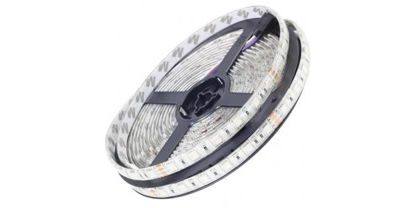 Tira LED 14.4W/m 24VDC RGB Flexible 5m (3Tira RGB 14.4W x metro. 24VDC. SMD5050. Rollo 5 metros. 60 LEDs/metro. Uso Interior y E