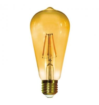 Bombilla LED Regulable Filamento Gold, E27, ST64, 6W, 2700k, Blanco Cálido, Ángulo 360º