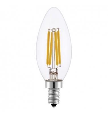 Bombilla LED E14, Regulable, Vela, Filamento, C35, 4W. Blanco Cálido. Ángulo 360º