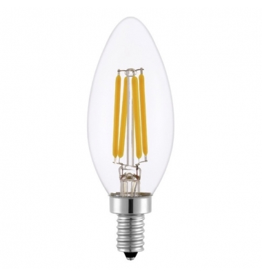 Bombilla LED Regulable Vela Filamento C35 E14 4W. Blanco Cálido. Ángulo 360º