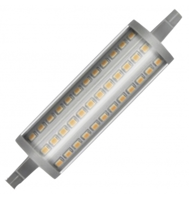 Bombilla LED R7s 15W 118mm. Regulable. 2000 Lm. Blanco Natural. Ángulo 300º