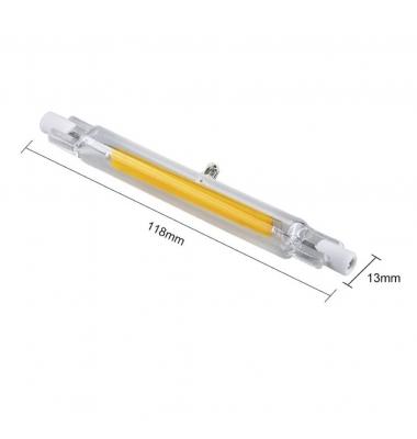 Bombilla LED R7s Lineal 118mm. COB Epistar 10W - 1000 lm. Blanco Cálido