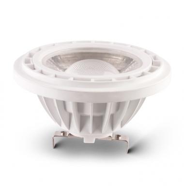 Bombilla LED AR111 15W. 12V. Blanco Cálido. Ángulo 38º . 1300 lm. Acabado Plata