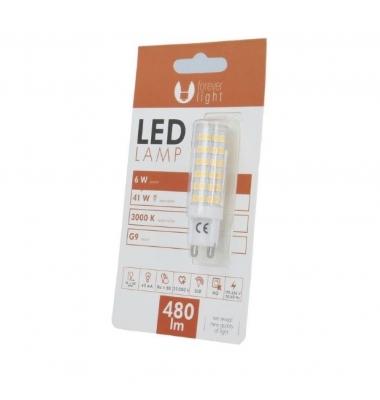 Bombilla LED G9 6W. Ángulo 360º. 480 Lm. Blanco Cálido
