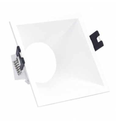 Foco Empotrable Fusion Asimetrico Fijo Cuadrado. Blanco Mate. Para Bombilla LED GU10 y MR16