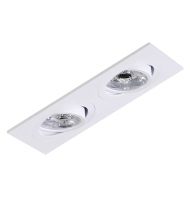 Foco Empotrable Basculante Spot 2 luces Blanco. Para Bombillas LED GU10 y MR16