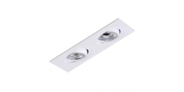 Foco Empotrable Basculante Spot 2 luces Blanco. Para Bombillas LED GU10 y MR16