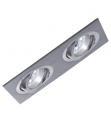 Foco Empotrable Basculante Spot 2 luces Aluminio. Para Bombillas LED GU10 y MR16