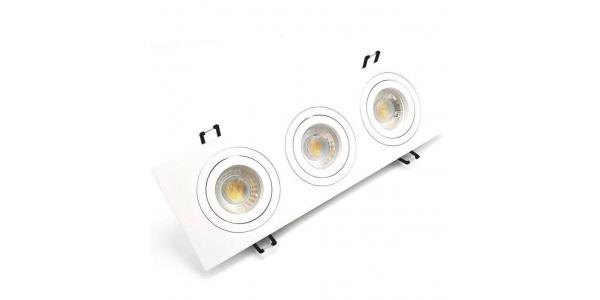 Foco Empotrable Basculante Spot 3 luces Blanco. Para Bombillas LED GU10 y MR16