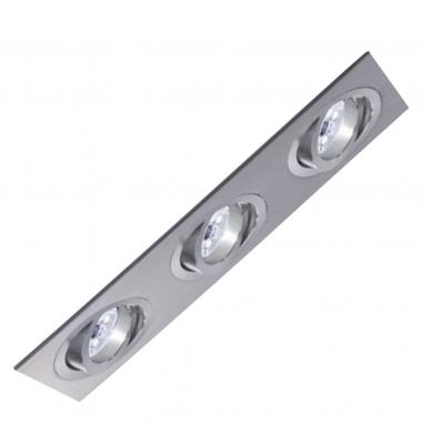 Foco Empotrable Basculante Spot 3 luces Aluminio. Para Bombillas LED GU10 y MR16