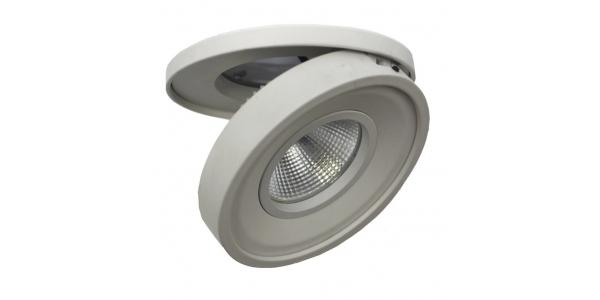 Foco Empotrable LED Dance. 10W. Orientable y Basculante. Blanco Cálido. Ángulo 60º. Blanco Mate