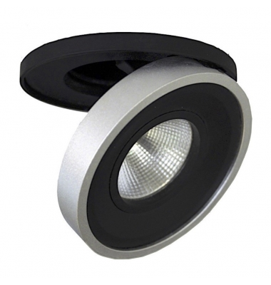 Foco Empotrable LED Dance. 10W. Orientable y Basculante. Blanco Natural. Ángulo 60º. Negro-Plata