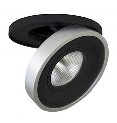 Foco Empotrable LED Dance. 10W. Orientable y Basculante. Blanco Cálido. Ángulo 60º. Negro-Plata