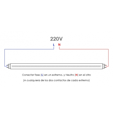Tubos LED T8 Cristal 1500 mm 22W-1850 lm. Conexión 2 Laterales. Blanco Frío. Ángulo 270º