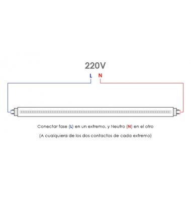 Tubo LED T8 Aluminio 600 mm.. 9W-860 lm. Conexión dos laterales. Blanco Cálido