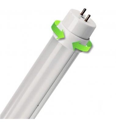 Tubo LED T8 Función Emergencia. Aluminio 1200 mm. Cabezal Rotatorio. 18W-1800 lm. Conexión dos Laterales. Blanco Frío