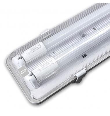 Pantalla Estanca IP65. Para 2 Tubos LED T8 de 150cm. Conexión Un Lateral