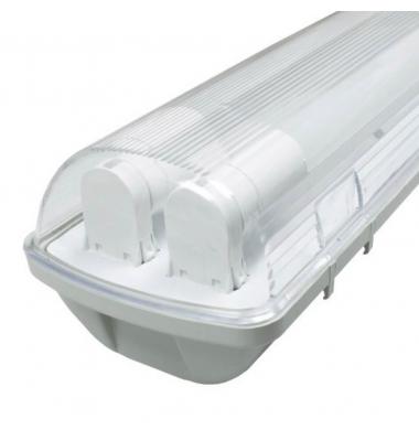 Pantalla Estanca IP65. Para 2 Tubos LED T8 de 120cm. Conexión Dos Laterales