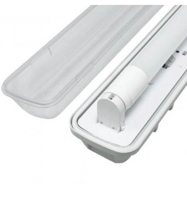 Pantalla Estanca IP65. Para 1 Tubo LED T8 de 60cm. Conexión Dos Laterales