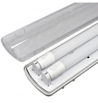 Pantalla Estanca IP65. Para 2 Tubos LED T8 de 60cm. Conexión Dos Laterales