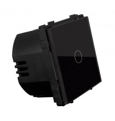 Interruptor de Pared Táctil Simple Smart WiFi. 1000W. Compatible Amazon Alexa y Google Play. Acabado Negro