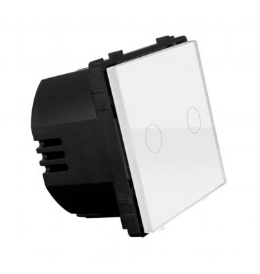 Interruptor de Pared Táctil Doble Smart WiFi. 2*1000W. Compatible Amazon Alexa y Google Play. Acabado Blanco