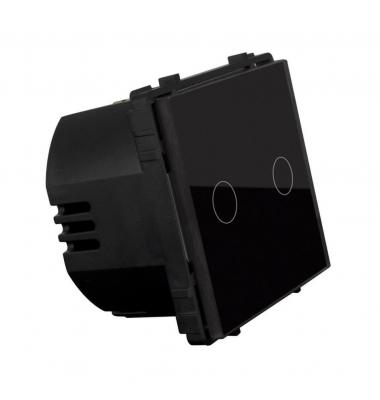 Interruptor de Pared Táctil Doble Smart WiFi. 2*1000W. Compatible Amazon Alexa y Google Play. Acabado Negro