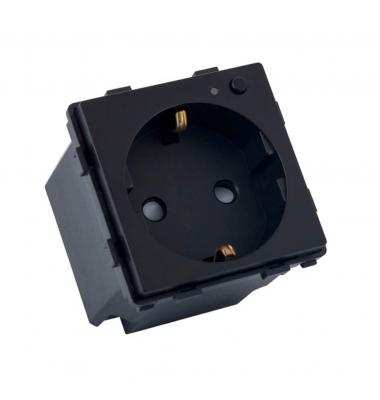 Base Enchufe Schuko Smart WiFi 16A, 3520W. Compatible Amazon Alexa y Google Play. Acabado Negro