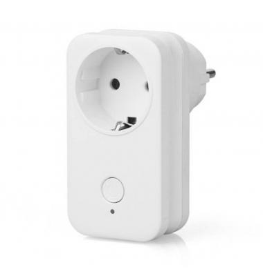 Conversor Enchufe Schuko Tipo F Smart WiFi. 10A, 2200W. Compatible Amazon Alexa y Google Play. Acabado Blanco
