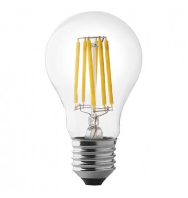Bombilla LED Filamento E27, A60, 8W, 2700k, Blanco Cálido. Ángulo 360º