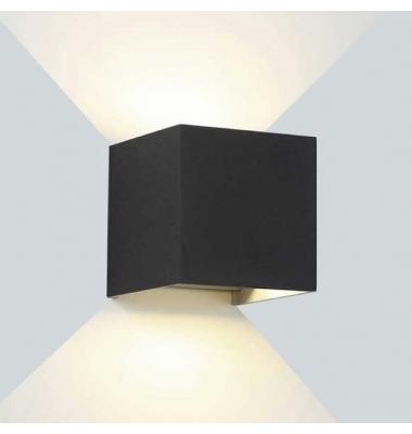 Aplique LED de Pared Rook, 12W, Negro Mate. Blanco Cálido, IP54