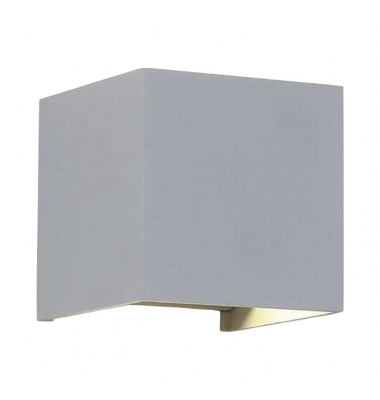 Aplique LED de Pared Rook, 12W, Plata Mate. Blanco Cálido, IP54
