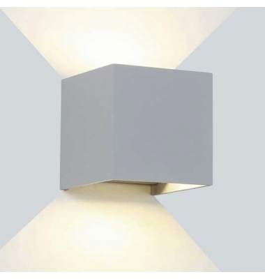 Aplique LED de Pared Rook, 12W, Plata Mate. Blanco Natural, IP54
