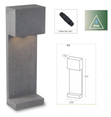 Baliza Suelo LED Etna, IP65, Exterior, Cemento Gris, 2 x GU10