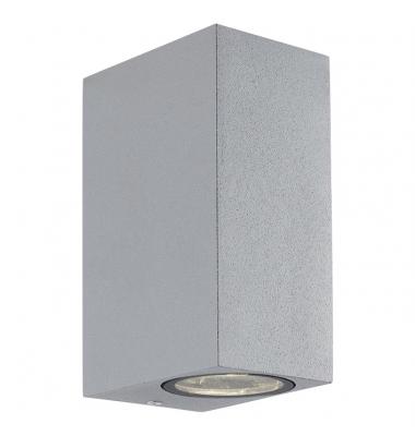 Aplique LED de Pared Block, IP54, Exterior, Gris, 2 x GU10
