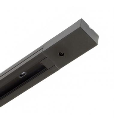 Carril 1 metro de PVC Monofásico, Blanco y Negro, Incluye conector 220V y Tapa Final