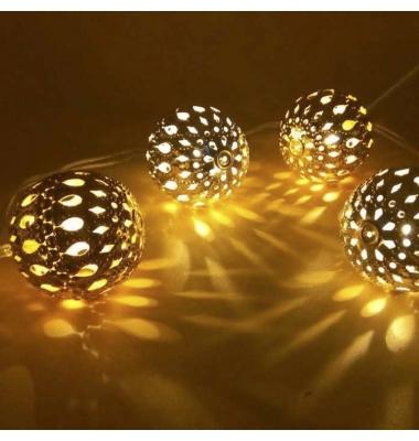 Bolas Doradas, Guirnalda de un metro con 20 luces flash cálidas, a Pilas, 2xAA