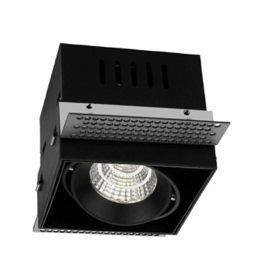 Foco Empotrar LED Box, Negro, 10W. Direccionable, Blanco Cálido de 3000k. Ángulo 60º