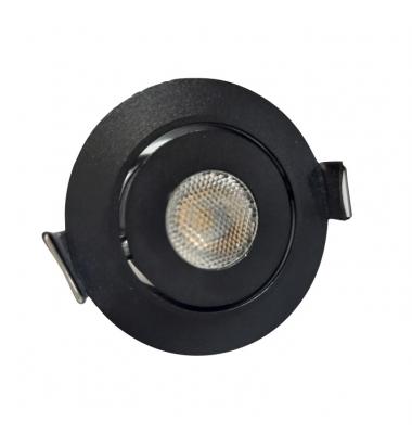 Foco Empotrar LED MINI, Basculante, 3W, Negro Mate. Blanco Cálido de 3000k, Ángulo 60º