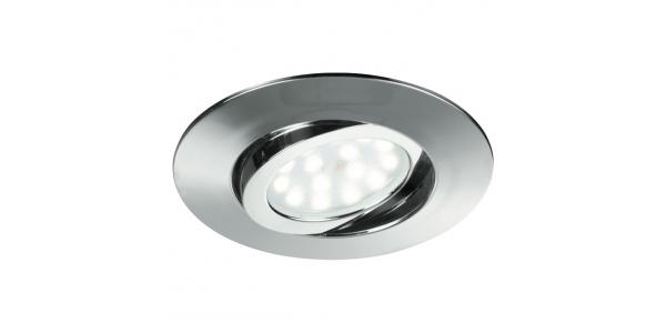 Foco Empotrar LED Zenit, 5W. Cromo Brillo, Blanco Cálido de 3000k, Ángulo 120º, Especial Baños